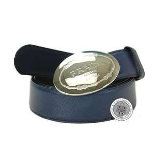 (NEW) PRADA 1C3975 053 SAFFIANO CINTURE FIBBIA LOGO PRADA 3.5 CM CALFSKIN 95 CM BELT SHW, BLUETTE / F0016 全新 皮帶 藍色
