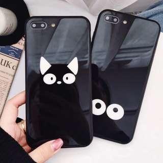 手機殼IPhone6/7/8/plus/X : 搞怪貓眼睛鏡面全包黑邊玻璃背板殼