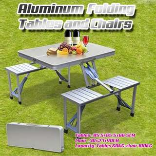 Portable Aluminum Folding Tables and Chairs Barbecue Picnic Tables Chairs