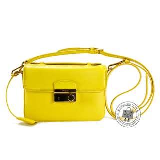 (NEW) PRADA BT0959 NZV BORSA SAFFIANO LUX CALFSKIN SHOULDER BAG GHW, GIRASOLE / F0323 全新 手袋 黃色
