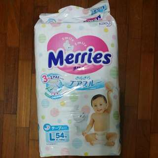 Merries Tape Diapers L, 54pcs New Unopened  Baby Pampers Japan Good Quality Cheap Sell Away . Kao Japan