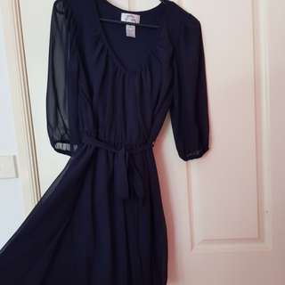 NAVY TIE UP DRESS
