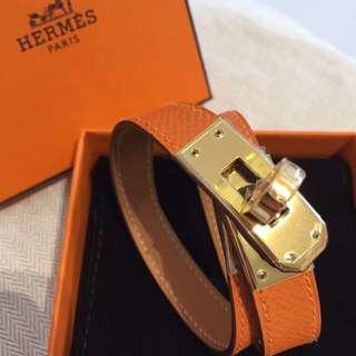 全新 愛馬仕 Double Tours Jelly Bracelet Epsom Orange Ghw New