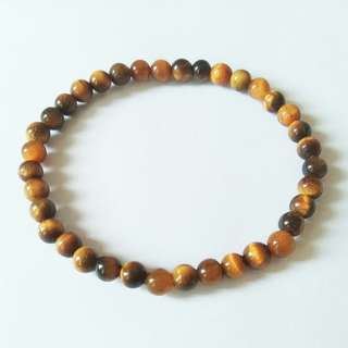 4mm Tiger Eye Bracelet, Men Bracelet, Women Bracelet, 4mm Power Stone Bracelet