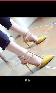 淺口 鉚釘 尖頭鞋 細跟 高跟鞋 34-39碼