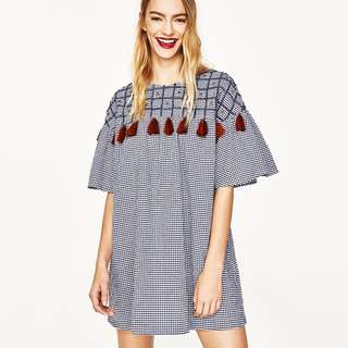 Zara Short Dress with Embroidery and Tassels