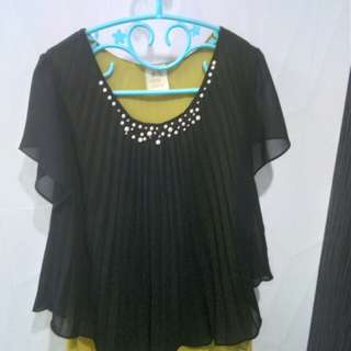 Pleated double blouse chiffon with beads