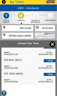1 Ets ticket bt gajah to kl sentral on 2/4/2018 at 8:05pm for 1 adult