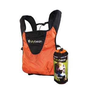 BittyBean Ultra Compact Travel Baby Carrier Orange (very small)