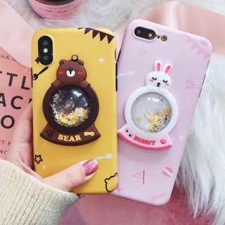 手機殼IPhone6/7/8/plus/X : 卡通水晶球小熊兔子全包邊軟殼