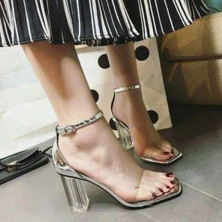 Silver And Clear Block Heeled Stilettos