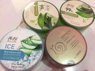 (ORIGINAL!!) Jeju Aloe Vera 99%, Jeju Aloe Ice The Face Shop & Snail Soothing Gel The Saem