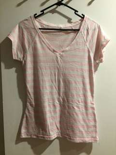 Pink and White Striped Casual Top
