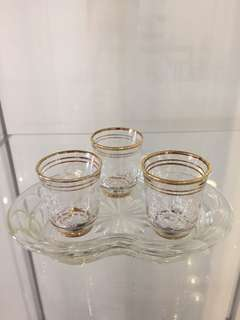 Tea cups with crystal tray