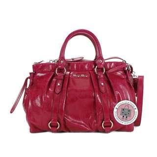 (NEW) MIU MIU RT0383 X72 VITELLO LUX BAULETTO APERTO CALFSKIN TOTE BAG SHW, FUXIA / F0029 全新 手袋 紅色