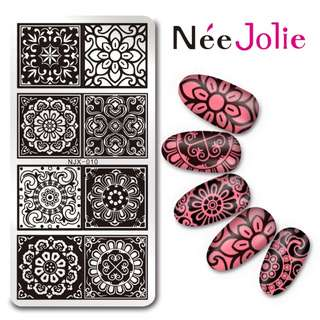 12 * 6cm stamping template beautiful flower theme rectangular image plate stamp nail art