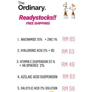 Readystock The Ordinary SkinCare ( Niacinamide,  Alpha Arbutin,  Salicylic acid, Etc)