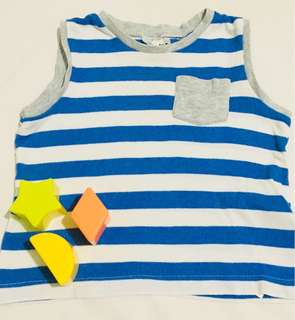 Striped sleeveless top with pocket