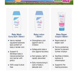 Sebamed baby starter pack (soap free sensitive skin/paraben free/eczema/diaper rash/cleanser