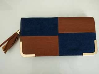 Colette 2 colored denim leather clutch wallet