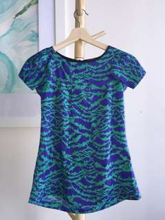 Sheike purple green jungle print short sleeved blouse size 6