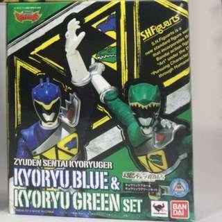 特價 日版 Shf 魂 限 獸電戰隊 強龍藍 綠 Kyoryu Blue & Kyoryu Green Set
