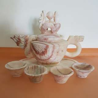 Vintage Handcrafted Stone Dragon Tea Set