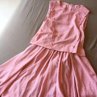 粉紅色復古古著連身洋裝無袖