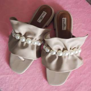 Chloe Pearly Sandals by VANILLA SHOES (beige)