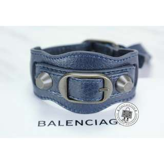 (NEW) BALENCIAGA 225277 D940T CLASSIC LAMBSKIN M BRACELET BHW, DARK BLUE / 4012 全新 手鐲 手鈪 藍色