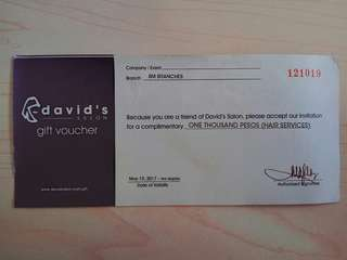 Repriced: David's Salon Gift Check get 500 free