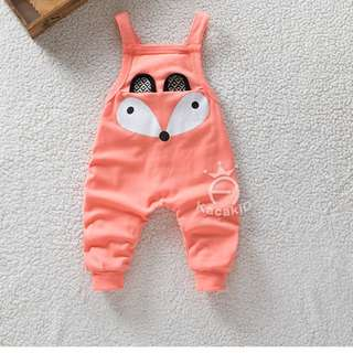 Peach Cute Little Fox Overall for Unisex Baby