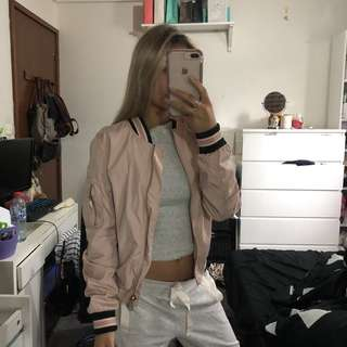 MISGUIDED BABY PINK BOMBER JACKET