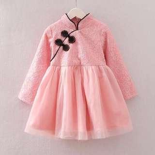 [賀新年][低價出清{女童氣質款,中國風蕾絲旗袍造型洋裝/連身裙(粉紅色)