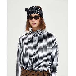 CHECKED SHIRT WITH BOW DETAIL`