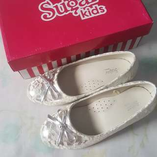 Silver with Lace Formal Shoes for Girls