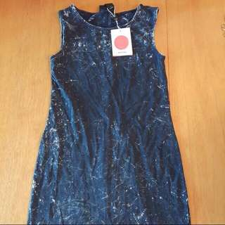 Monki navy blue denim Alva washed sleeveless dress 藍色 洗水 背心 連衣 連身裙