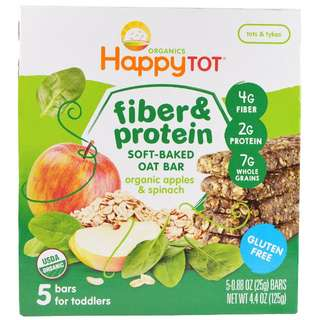 Happytot (Happy Baby) Fiber & Protein Soft-Baked Oat Bar, Organic Apples & Spinach