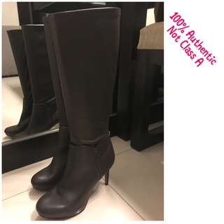 Nine West Leather Knee High Boots in Dark Brown (Authentic)