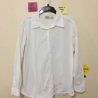 40SALE! Plain White Button Down Top - with stain