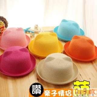 夏天可愛貓耳朵親子草帽 韓版小熊遮陽禮帽 兒童沙灘太陽帽子