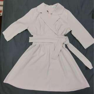 🔸優雅復古氣質收腰綁帶西裝領雪紡七分袖洋裝