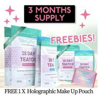 [SkinnyMint Official] 3 MONTH SUPPLY (28 DAYS x 3 set )  FREE 1 X Holographic MakeUp Pouch