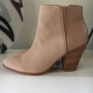Witchery Nude Suede and Leather Cuban Heel Boots