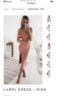 Blush pink elegant midi dress
