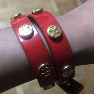 Tory Burch red leather bracelet
