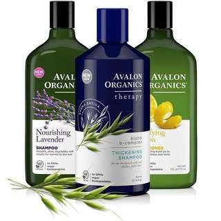 7 different Avalon Organics Shampoo and Conditioner