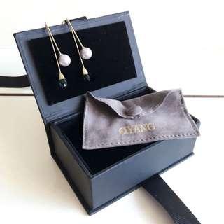O.Yang 珍珠水晶耳環英國品牌minimalism earring