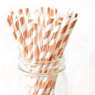 25pc STRIPED Rose Gold Foiled Straws
