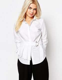 WHITE SHIRT WITH PEPLUM & D-RING DETAIL